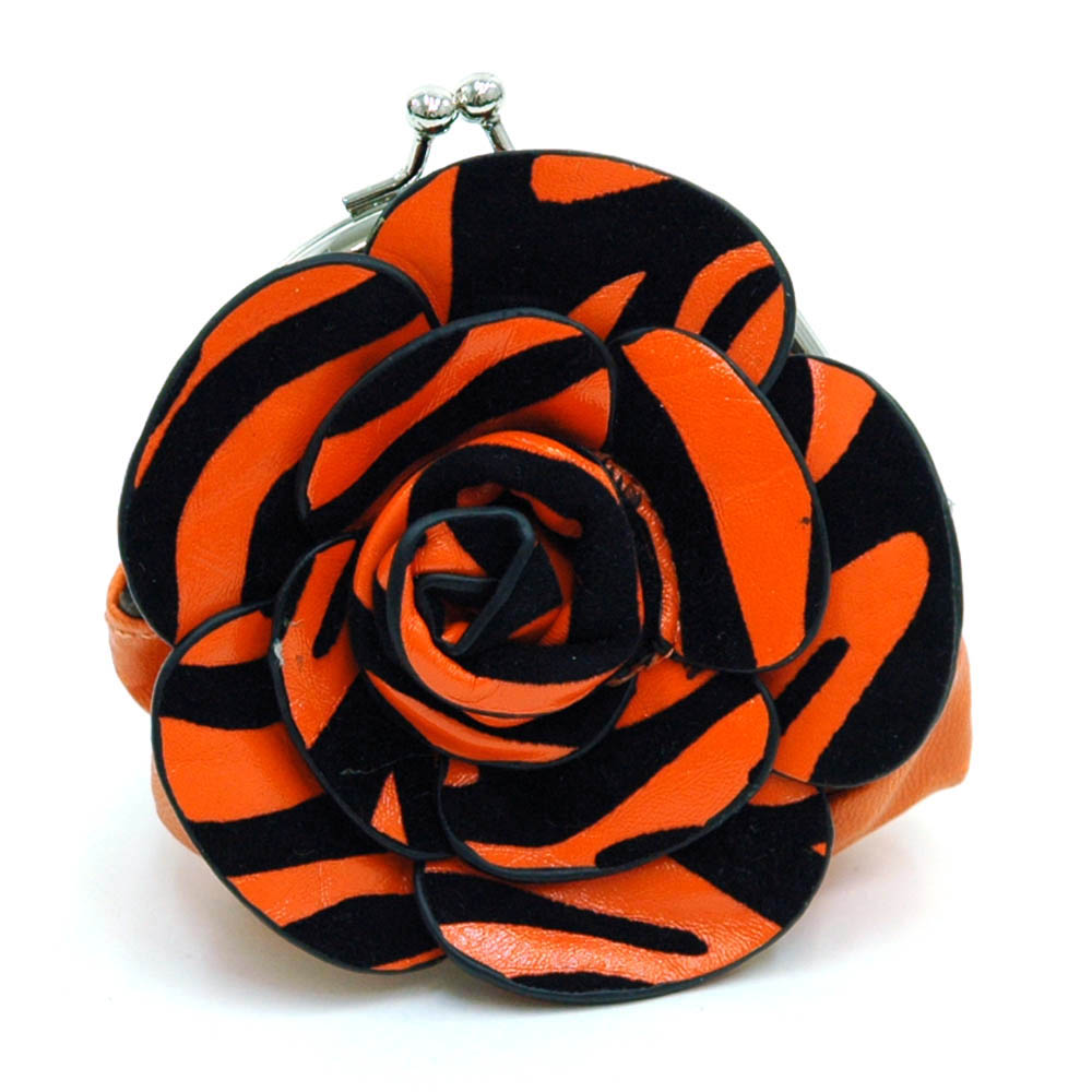 Ustyle Floral Rosette Coin Purse with Kiss-lock Closure-Orange Zebra Print