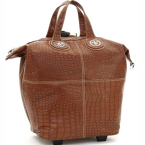 Ustyle Fleur de Lis Tote Style Croco Textured Luggage-Brown