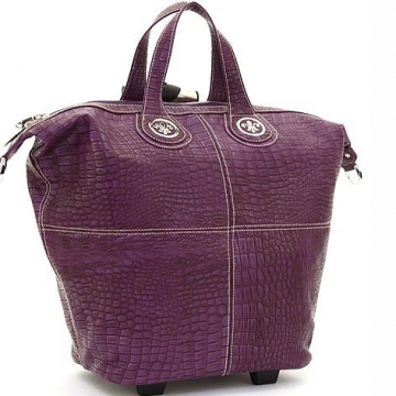 Ustyle Fleur de Lis Tote Style Croco Textured Luggage-Purple