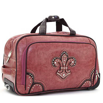 Ustyle Studded Fleur de Lis Duffel Bag/Luggage with Wheels-Pink