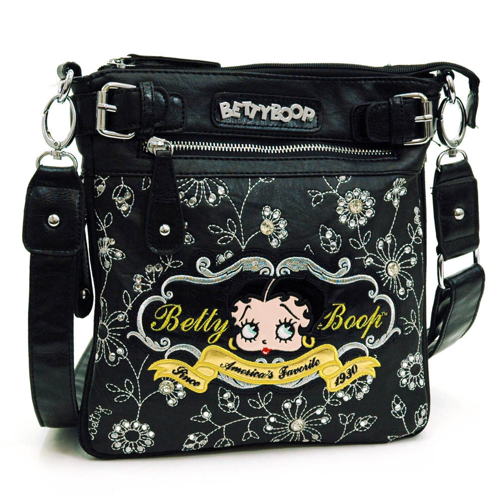 Betty Boop ® Messenger Bag with Floral and Rhinestone Embroidery-Black