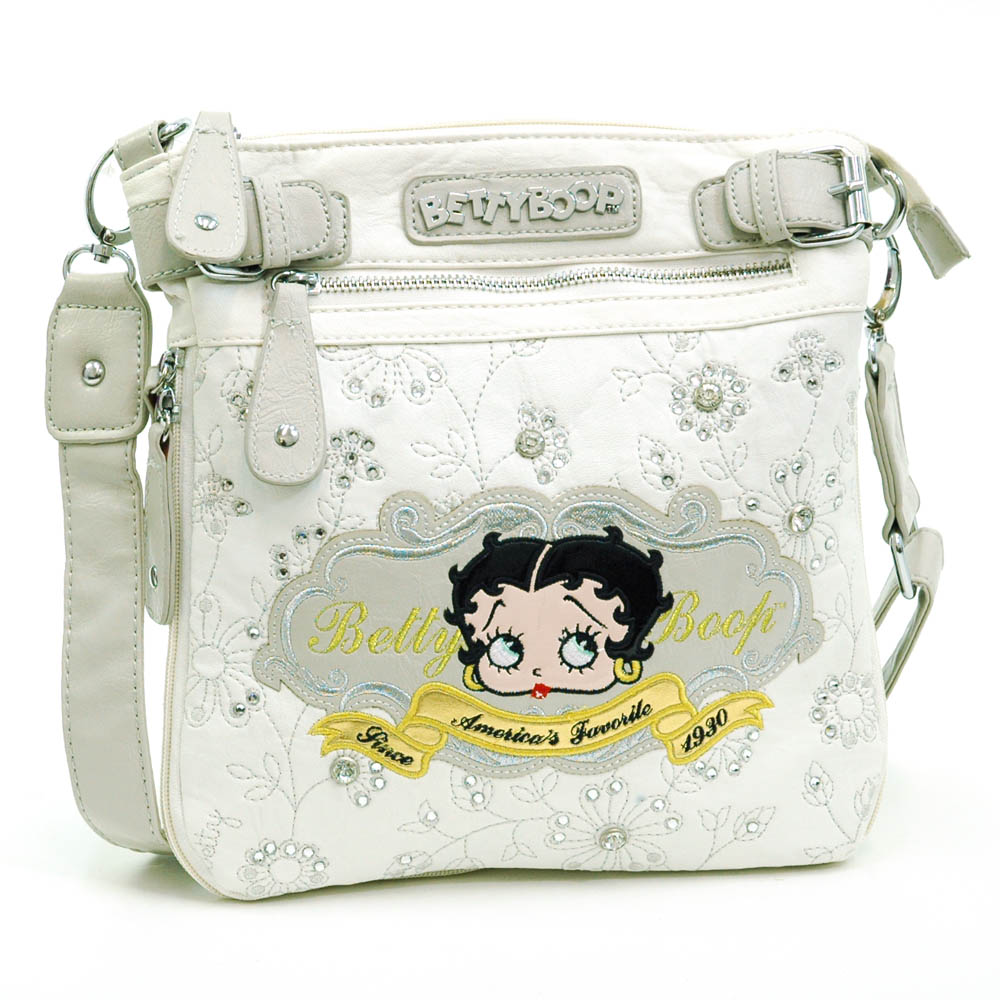 Betty Boop ® Messenger Bag with Floral and Rhinestone Embroidery-White