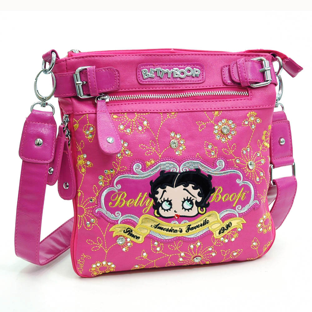 Betty Boop ® Messenger Bag with Floral and Rhinestone Embroidery-Hot Pink