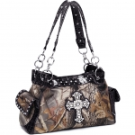 Realtree   Camouflage Shoulder Bag with Rhinestone Cross-Camouflage Black