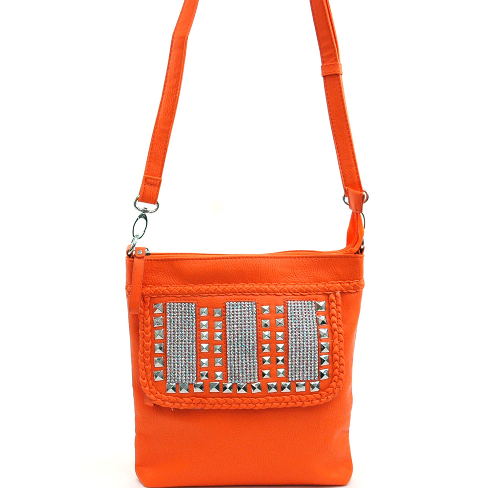 Fashion Studded and Rhinestone Embroidered Messenger Bag