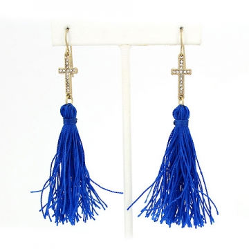 Dangle Tassel Earrings w/ Rhinestone Cross Charm
