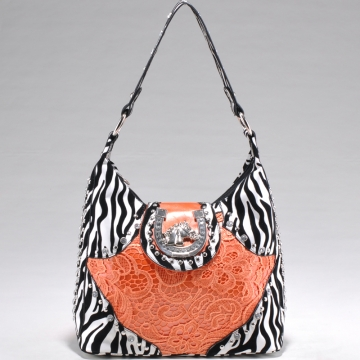 Studded Zebra Print Shoulder Bag w/ Western Theme Ornament