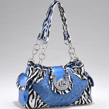 Studded Zebra Print Shoulder Bag w/ Western Theme Ornament for women Blue