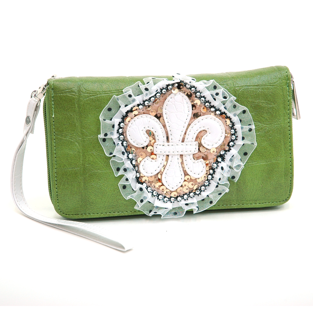 Ustyle Fleur De Lis Lace and Sequins Zip Around Wallet with Croco Texture