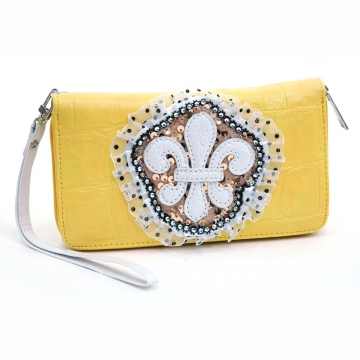 Ustyle Fleur De Lis Lace and Sequins Zip Around Wallet with Croco Texture-Yellow