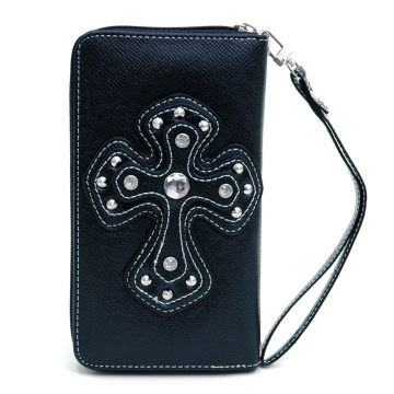 Ustyle Rhinestone Cross Accent Leather Texture Zip-around Wallet-Black
