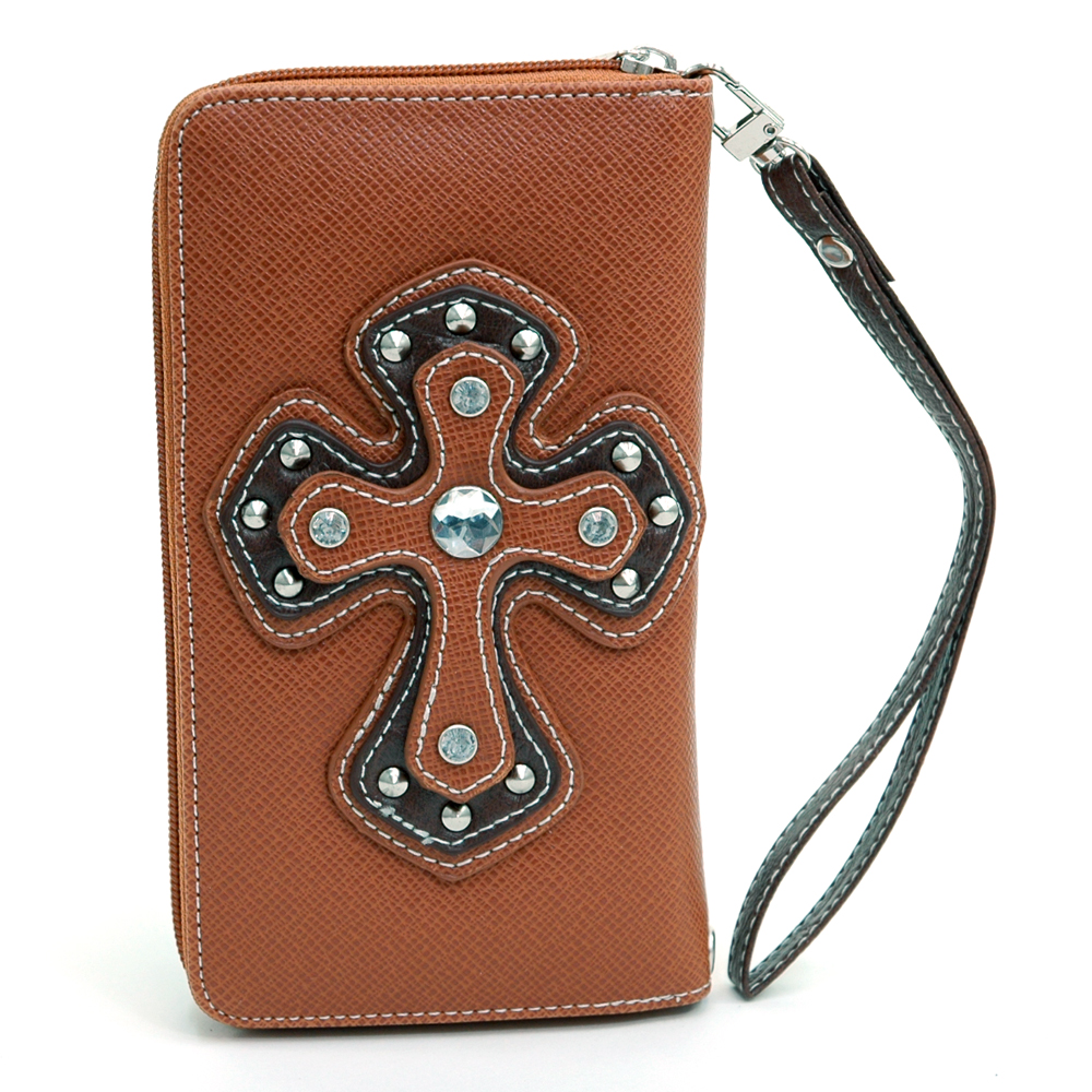 Ustyle Rhinestone Cross Accent Leather Texture Zip-around Wallet-Brown