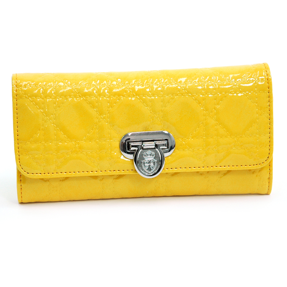 Patent Fashion Trifold Wallet with Stitch Design - Yellow