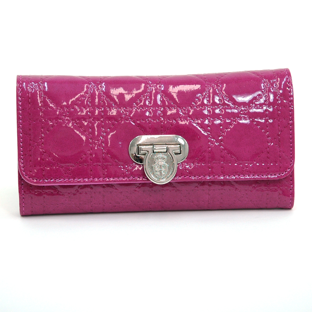 Patent Fashion Trifold Wallet with Stitch Design - Fuchsia