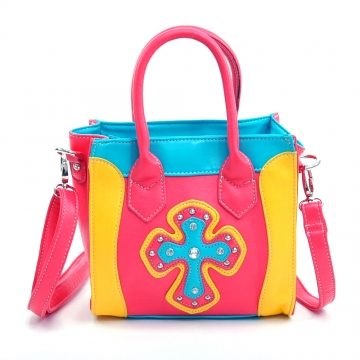 Multicolor Mini studded cross tote w/ detachable crossbody strap