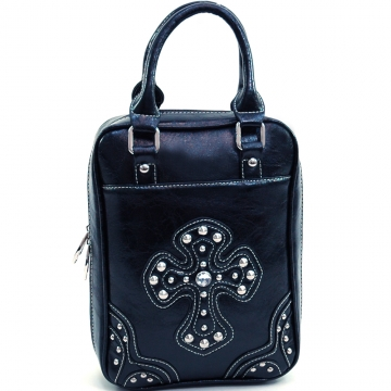 Ustyle Fashion Studded Cross Bible Cover with Carrying Handles-Black