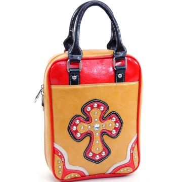 Ustyle Multicolor Studded Cross Bible Cover with Carrying Handles-Mustard/Multi Color