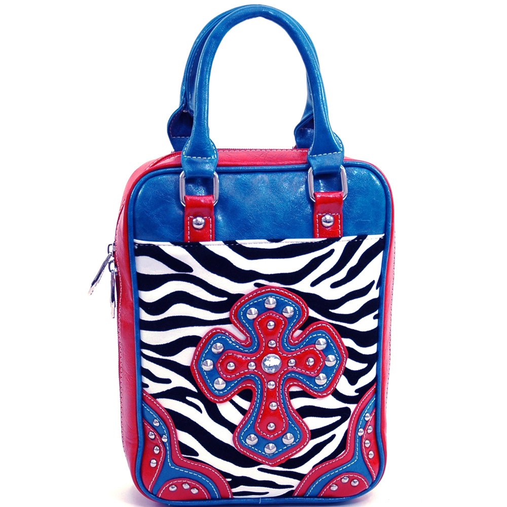Ustyle Stylish Zebra Print Studded Cross Bible Cover with Carrying Handles-Zebra/Blue/Red
