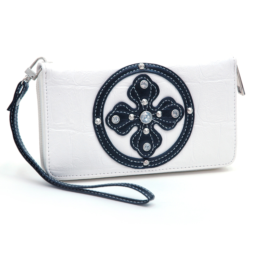 Ustyle Rhinestone Cross Accent Leather Texture Zip-around Wallet-White