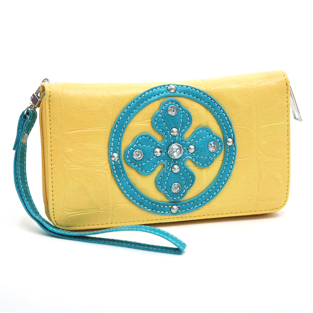Ustyle Rhinestone Cross Accent Leather Texture Zip-around Wallet-Yellow