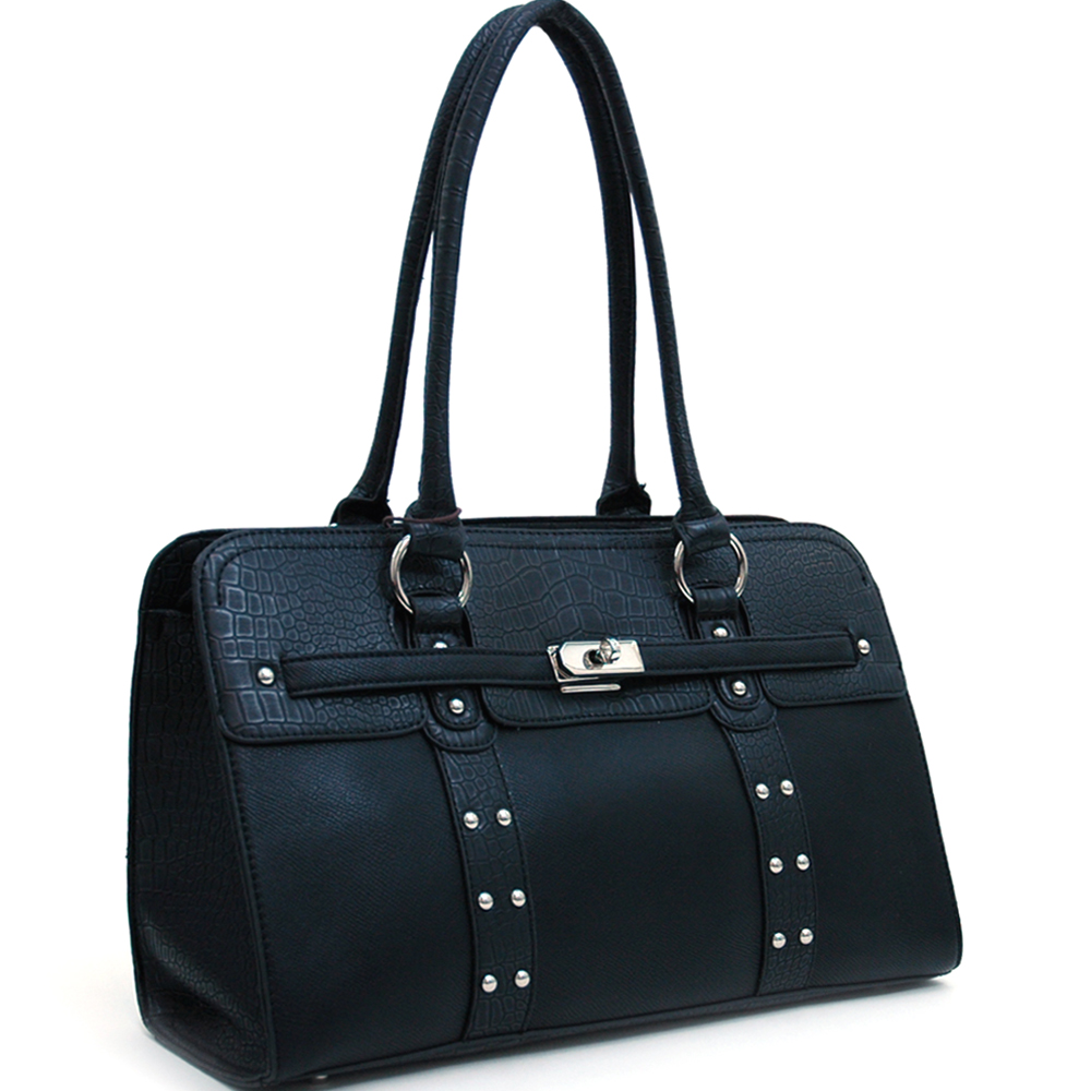 Dasein Studded Shoulder Bag with Studs and Sleek Buckle Accent