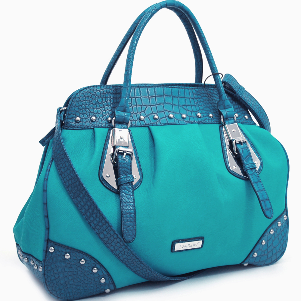 Dasein Large Studded Satchel with Croco Print Accent and Detachable Shoulder Strap-Turquoise