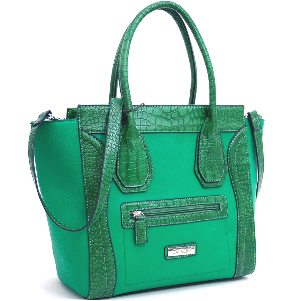 Dasein Large Tote w/ Croco Trim and Detachable Shoulder Strap