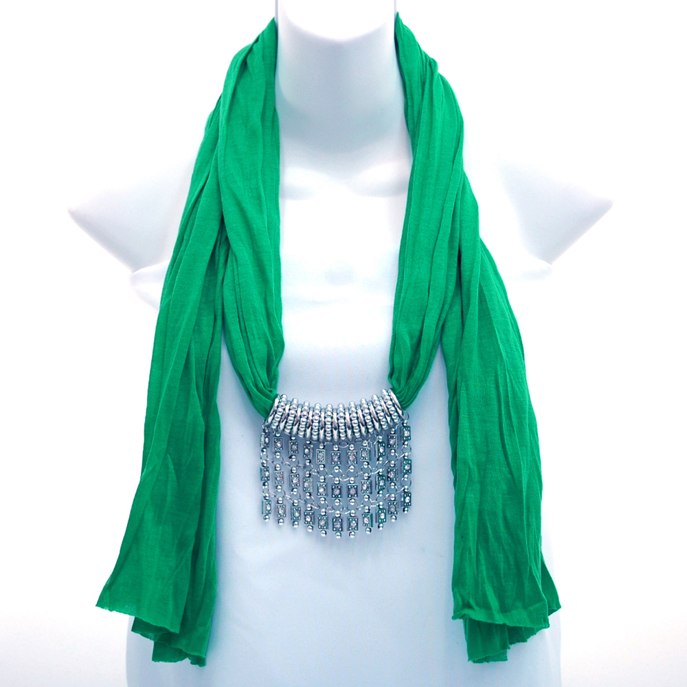 Bold Color Style Scarf w/ Bib Style Charm