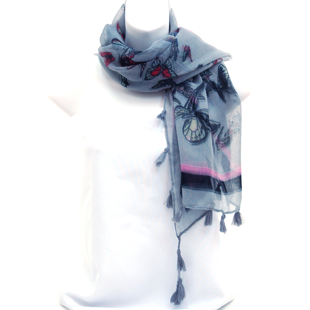 Square Scarf with Butterfly Design and Tassel Accents-Grey