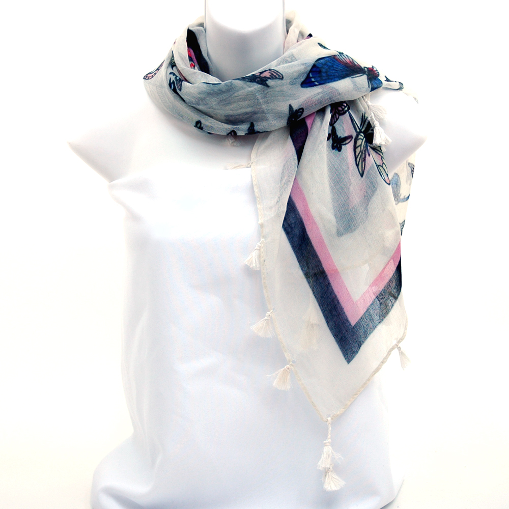 Square Scarf with Butterfly Design and Tassel Accents-White