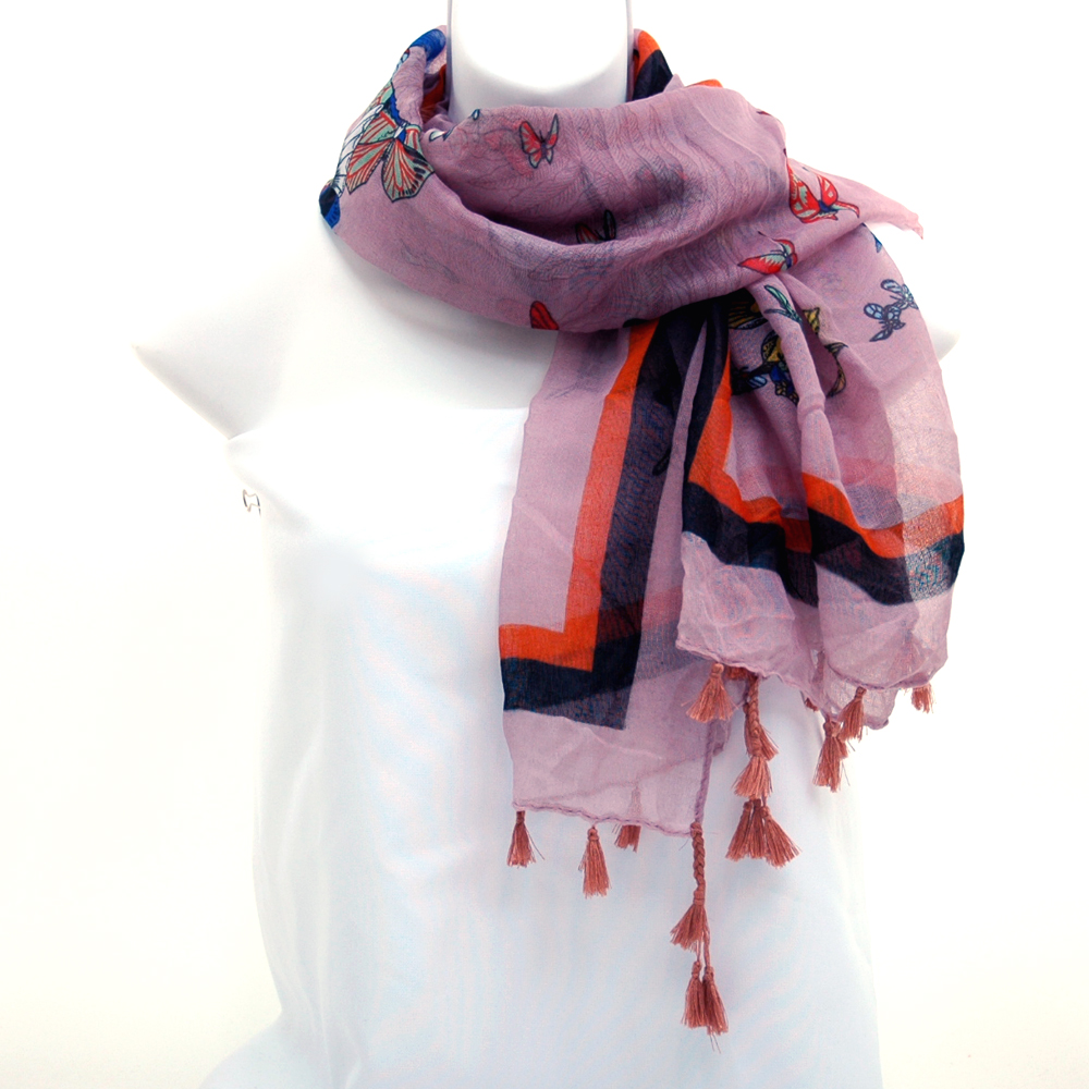 Square Scarf with Butterfly Design and Tassel Accents-Light Purple
