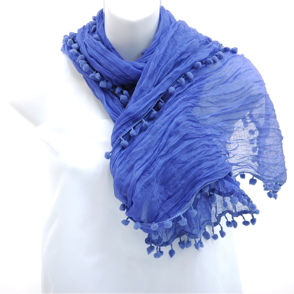 Long sheer fabric scarf with mini ball tassel fringe