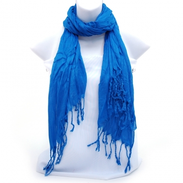 Long sheer fabric scarf w/ twisted fringe ends