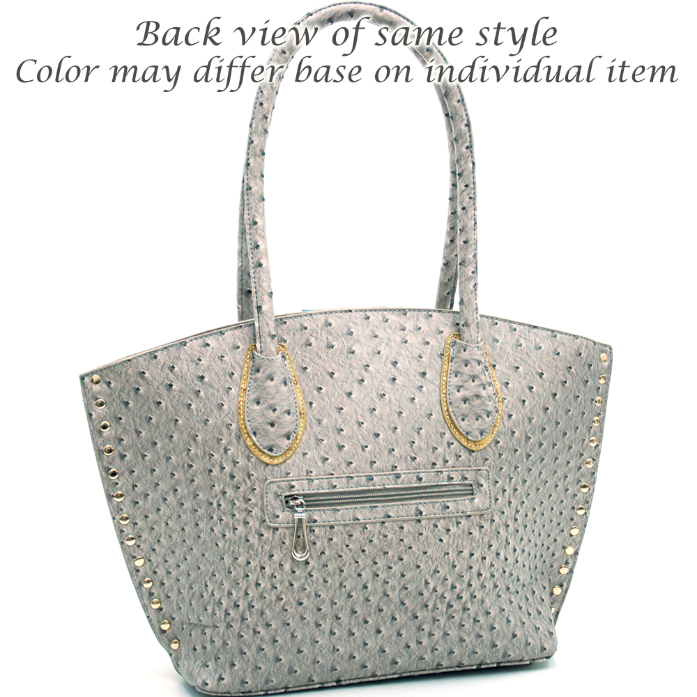 St. Barry® Ostrich Skin Studded Tote with Croco Trim