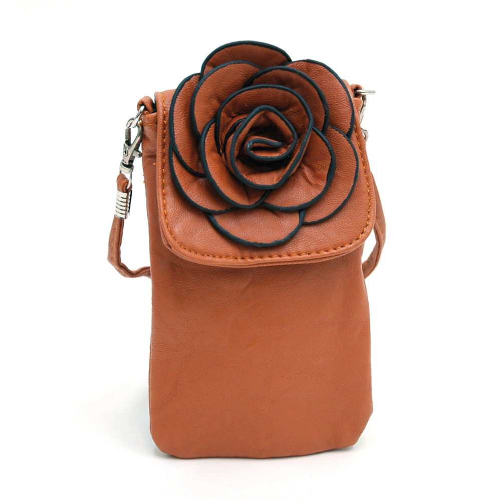 Fashion Flower Cell Phone Case with Detachable Shoulder Strap-Brown
