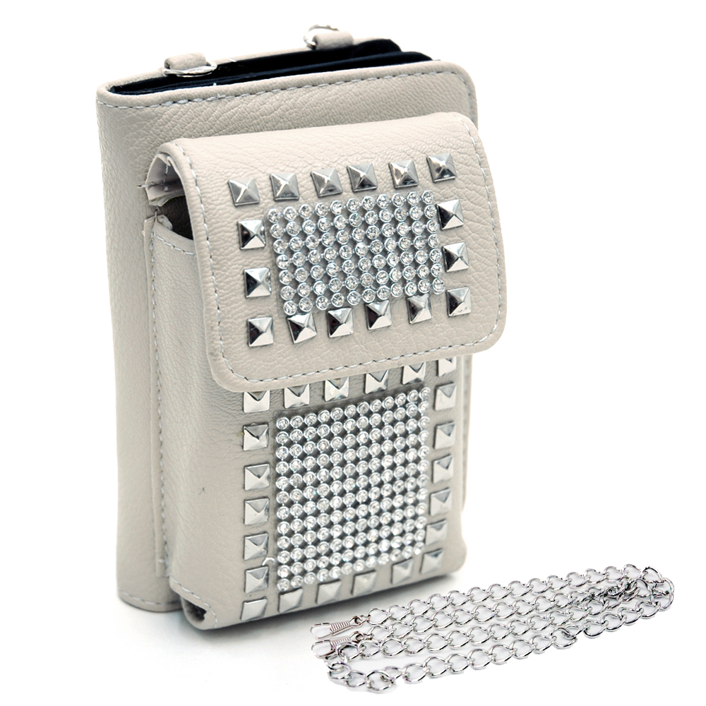 Cellphone holder and wallet w/ studs and rhinestone decor