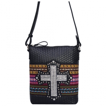 Dasein Cross-weave Messenger Bag with Tribal Design and Rhinestone Cross-Black