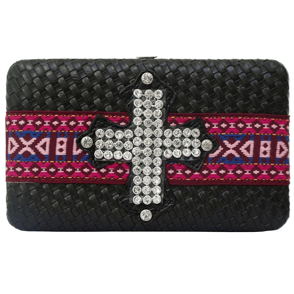 Dasein Special Cross-weave Frame Wallet with Tribal Design and Rhinestone Cross-Black
