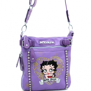 Betty Boop® messenger bag w/ heart and rhinestone embroidery