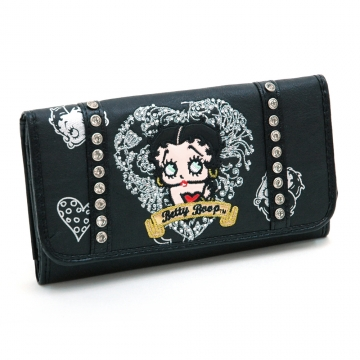Betty Boop® Checkbook Wallet w/ heart and rhinestone embroidery