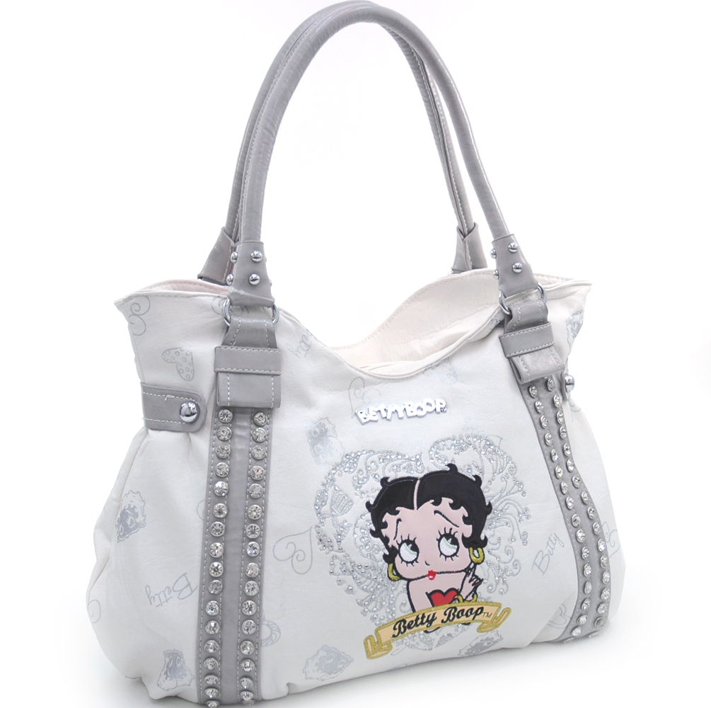 Studded Betty Boop® shoulder bag w/ heart and rhinestone embroidery