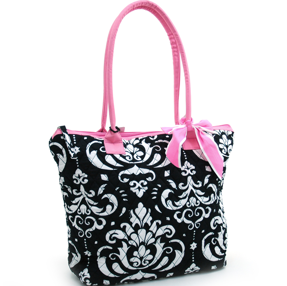 Fashlets Generic Quilted Damask Print Tote