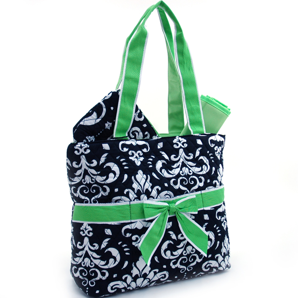 Fashlets Generic Quilted Damask Print 3-Piece Tote