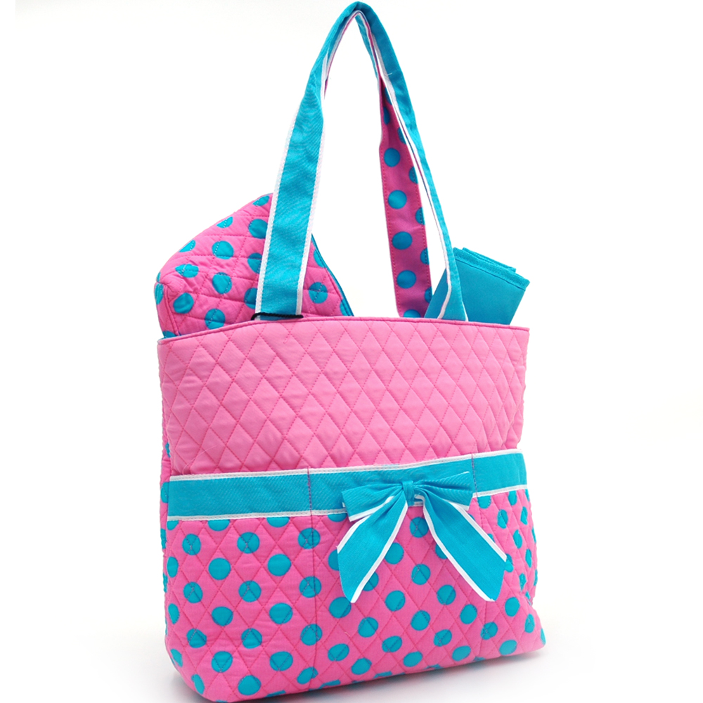 Dasein Bags - Quilted Polka Dot 3pc Diaper Bag w/ Ribbon Accents - fashlets.com