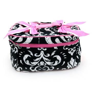 Quilted Damask Monogrammable Makeup Bag