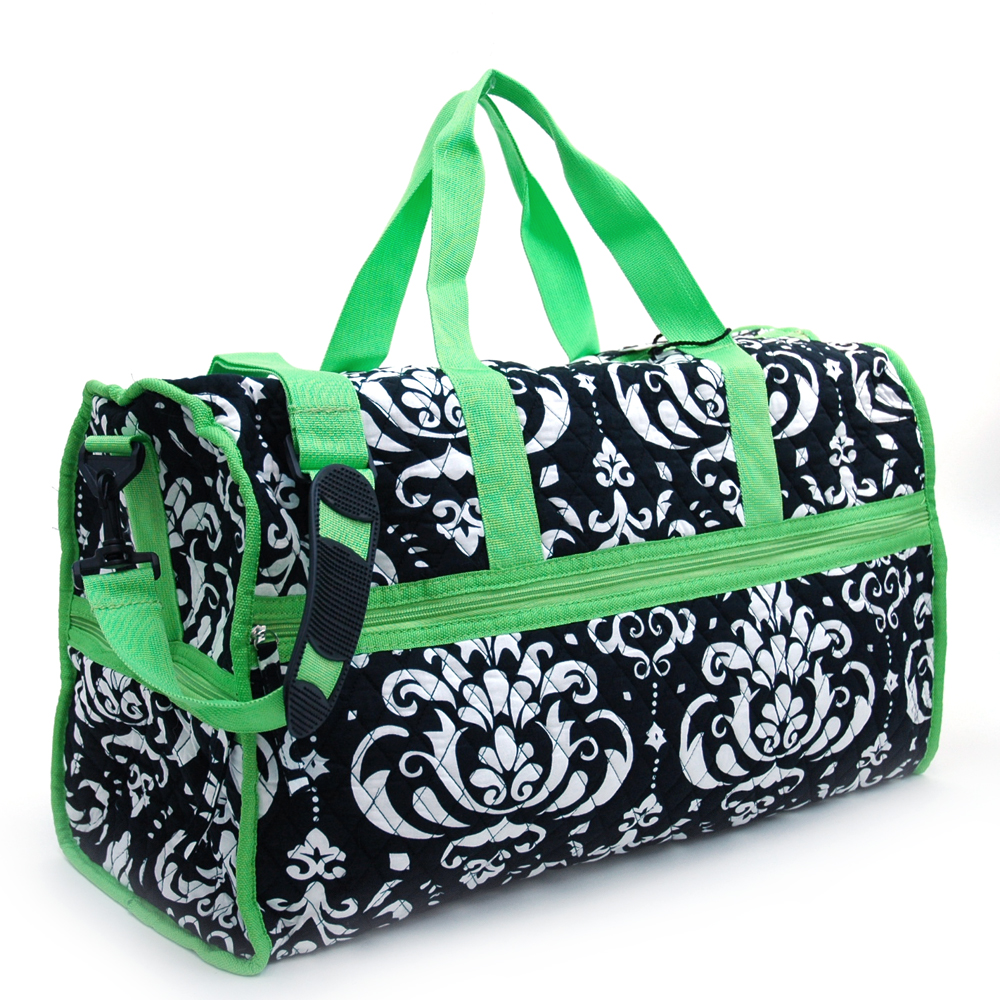Large Quilted Damask Print Duffel Bag with Bonus Makeup Bag