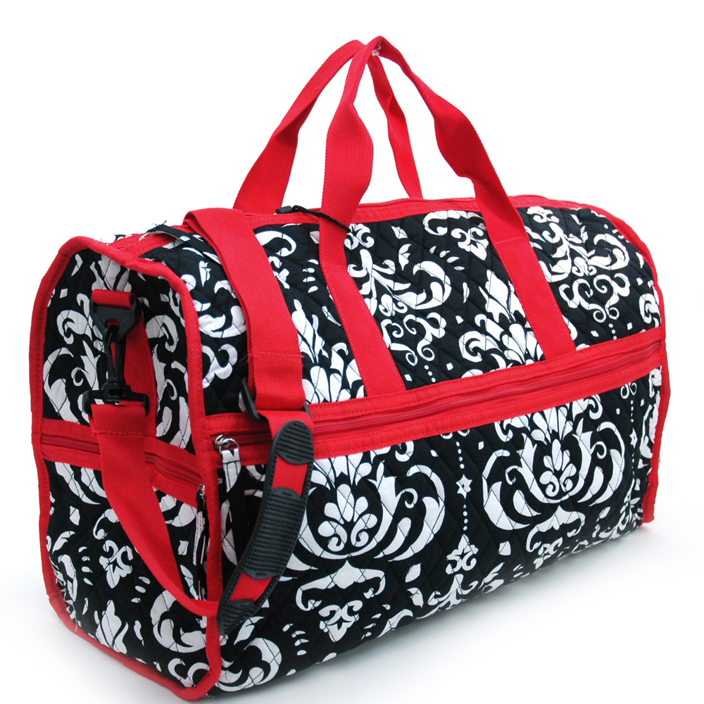 Large Quilted Damask Print Large Duffel Bag with Bonus Makeup Bag -  Trim