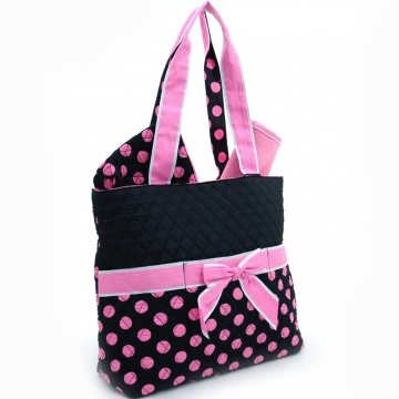 Quilted Polka Dot 3pc Diaper Bag w/ Ribbon Accents