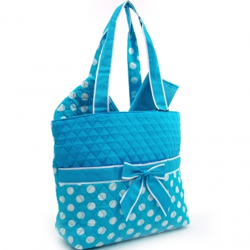 Quilted White Polka Dotted 3pc Diaper Bag w/ Ribbon Accents