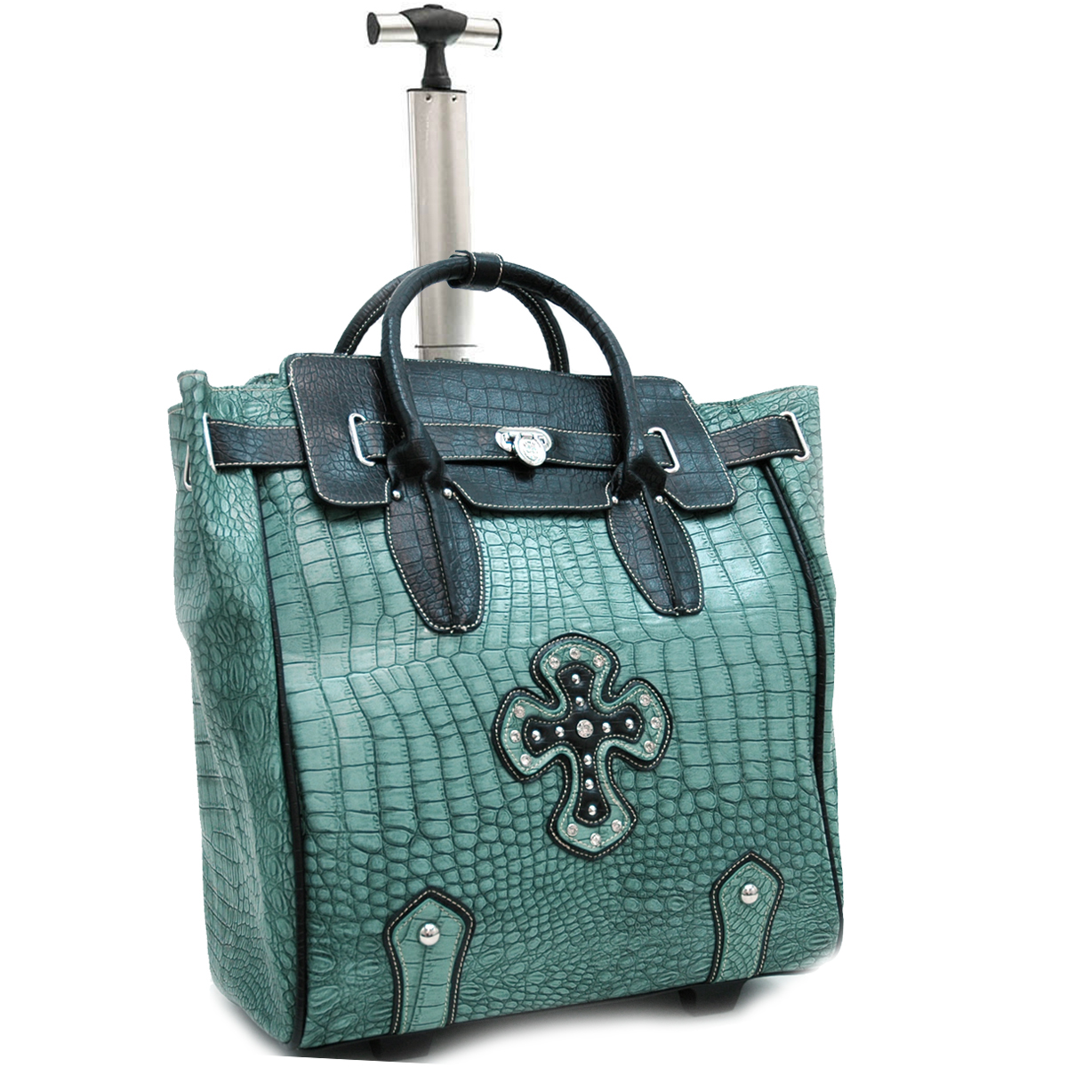 Ustyle Fashion Weekender / Oversized Tote Bag with Cross Accents-Green